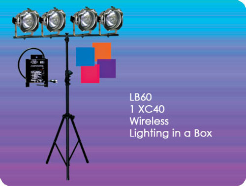 Lightronics LB60 Wireless DMX Lighting in a Box includes XC40 Dimmer and 4 PAR38 Fixtures