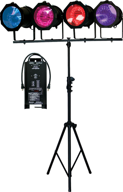 Lightronics LB62 Wireless DMX Lighting in a Box includes XC62 Dimmer and 4 PAR38 Fixtures