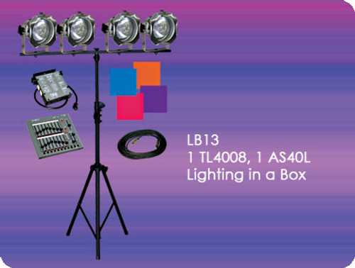 Lightronics LB13 Lighting in a box Includes TL4008 Console,  AS40L Dimmer and 4 PAR38 Fixtures