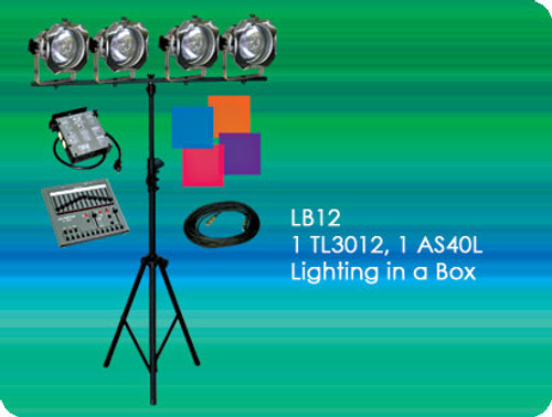 Lightronics LB12 Lighting in a Box Includes TL3012 Console, AS40L Dimmer, and 4 PAR38 Fixtures