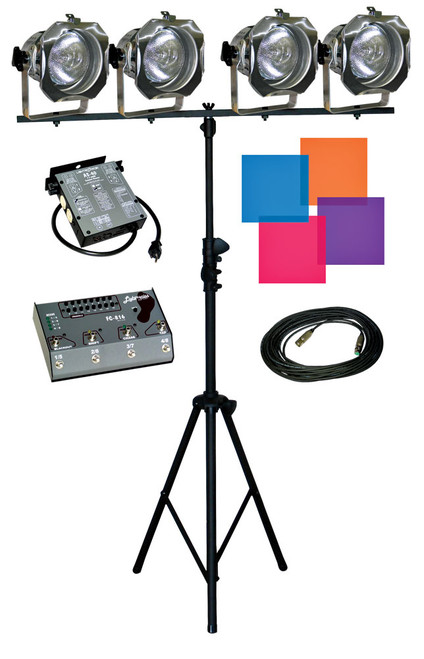 Lightronics LB11 Lighting in a box Includes FC816 Foot Console,  AS40L Dimmer and 4 PAR38 Fixtures