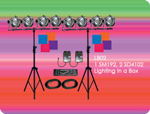 Lightronics LB02 Lighting in a Box includes 1 Show*Pro SM192 Console and 2 Show*Pro SD4102 Dimmers
