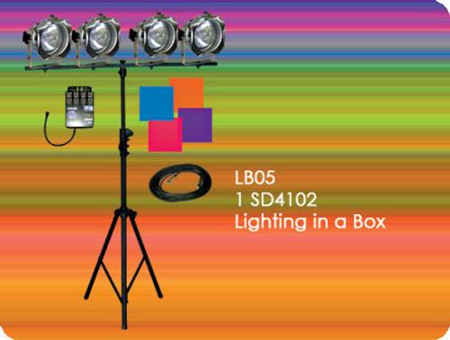 Lightronics LB05 Lighting in a Box includes 1 Show*Pro SD4102 Dimmer & 4 PAR38 Fixtures
