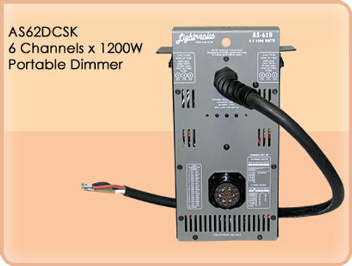 Lightronics AS62DCSK 6 Channels, 1200W Per Channel Portable Dimmer