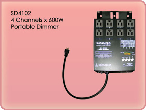 Lightronics SD4102 4 Channels, 600 Watts per Channel Portable Dimmer
