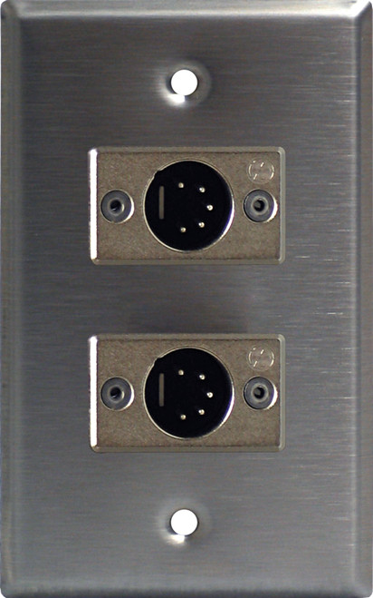 Lightronics CP521 Single Gang Wall Plate with DUAL 5 Pin Male DMX Connectors