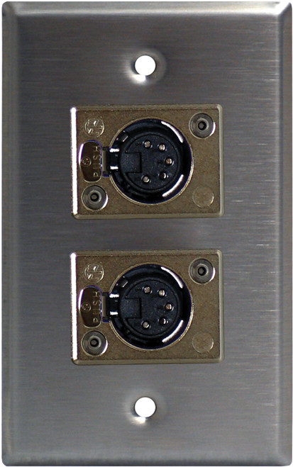 Lightronics CP522 Single Gang Wall Plate with DUAL 5 Pin Female DMX Connectors