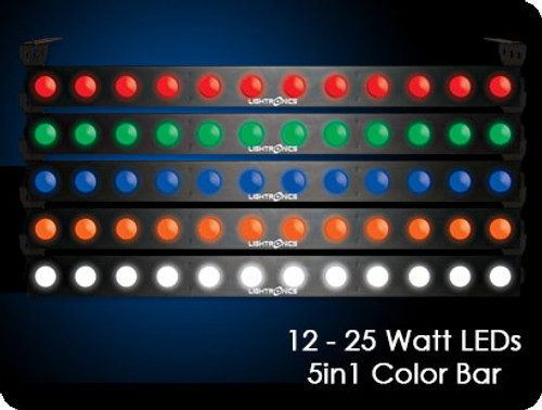 Lightronics FXLD2512B5I6 5in1 Five Color LED Wash Lightr Bar 12 - 25 Watt LEDs