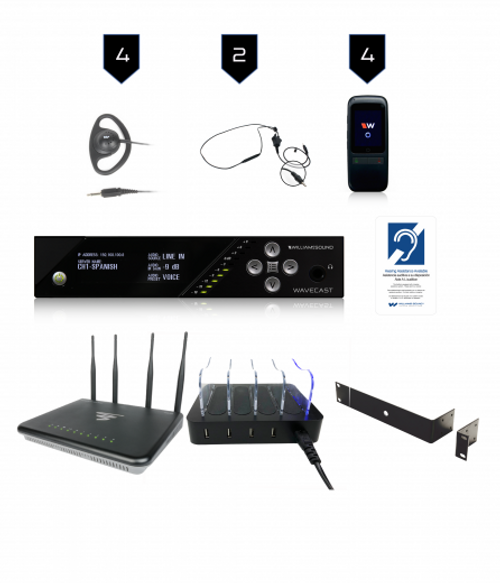 Williams Sound WF SY5 PRO-4 D WAP, Wi-Fi Assistive Listening System With Dante Input, WAP / Router and 4 Wi-Fi receivers, 1 WF T5 D, 4 WF R1N, 4 CCS 062 BK, 1 CHG 404 WF,4 EAR 022, 2 NKL 001-S, 1 RPK 005, 1 IDP 008 ADA