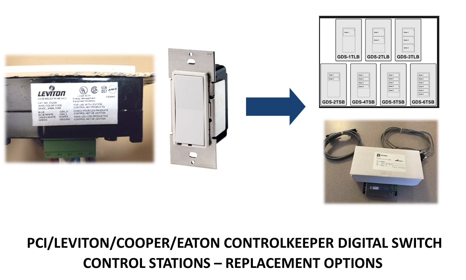 PCI/LEVITON/COOPER/EATON ControlKeeper Digital Switch Control Stations – Replacement Options