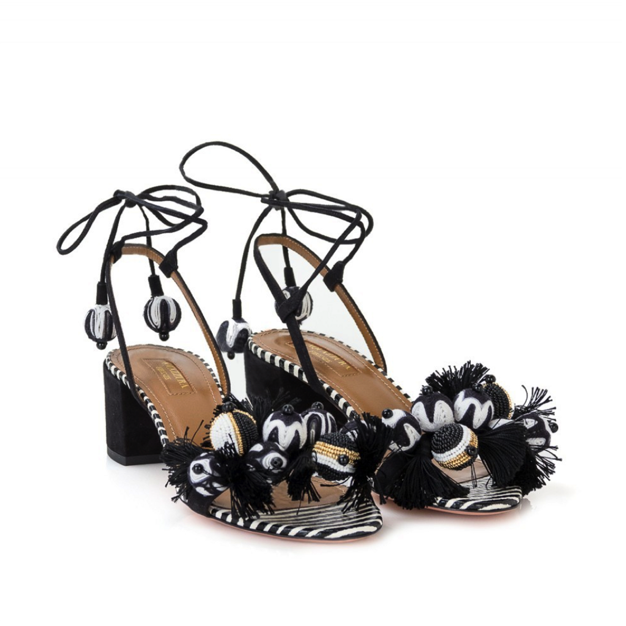 Aquazzura Tropicana Black/White Sandals