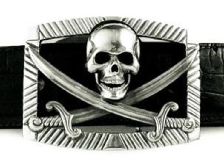 """Jeff Deegan Designs Sterling Silver Pirate Trophy Buckle, 1.5"""""""