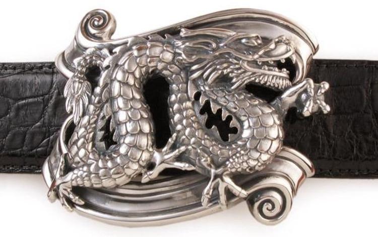 "Jeff Deegan Designs Sterling Silver Dragon on Banner Trophy Buckle, 1.5"""