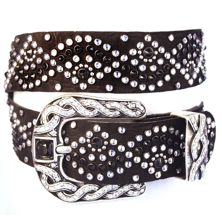 """*PRE-ORDER* Kippy's 1.5"""" Geisha Leather Belt with Double Helix Crystal Buckle"""
