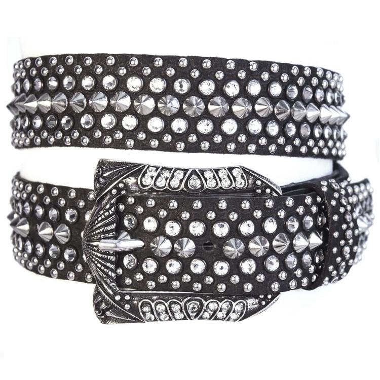 "Kippy's 1.5"" Black Leather Carmen Belt with Double Helix Pave Buckle"
