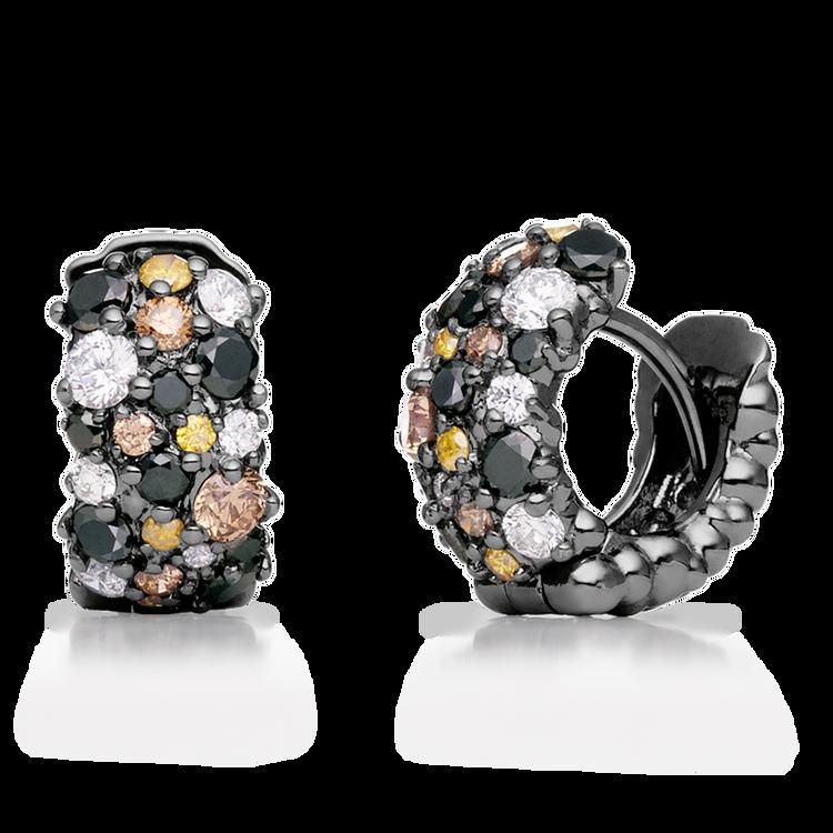 Paul Morelli 18K Black Gold Small Confetti Snap Hoop Earrings with Diamonds
