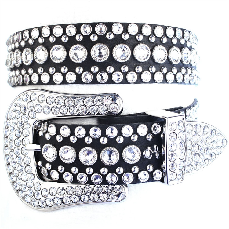 """*PRE-ORDER* Kippy's 1.5"""" Iconic Cowgirl Leather Belt with Point Back Crystal Buckle"""