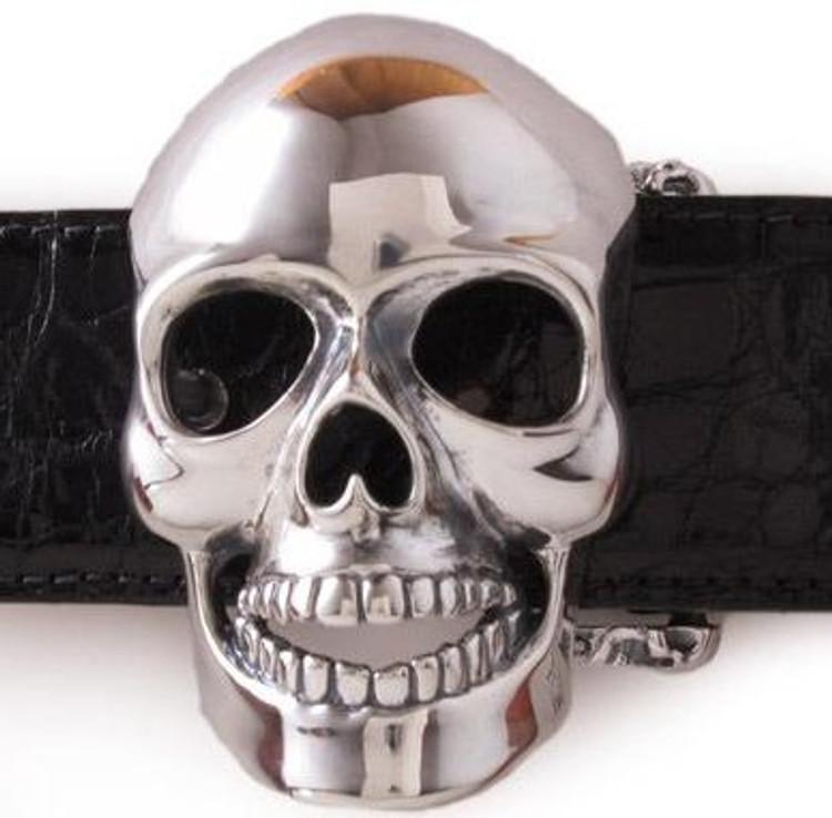 """Jeff Deegan Designs Sterling Silver Skull Buckle, 1.5"""""""