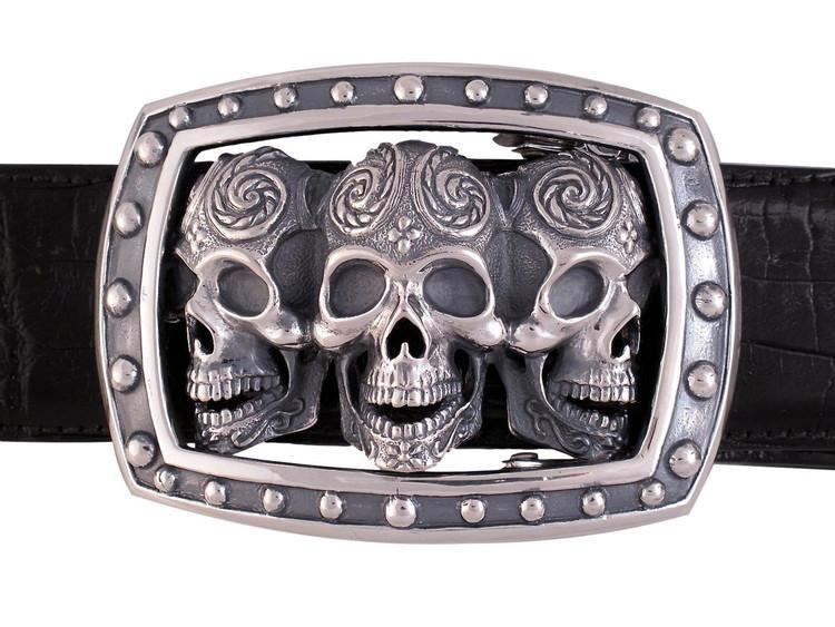 """Jeff Deegan Designs Sterling Silver Triple Sugar Skull Trophy Buckle, 1.5"""""""