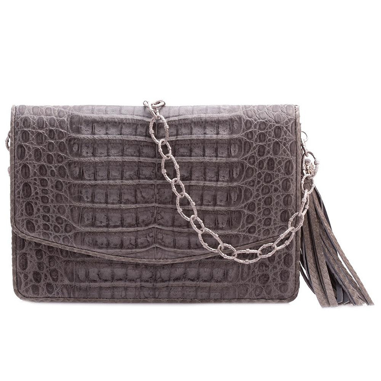 Armenta Mid-Size Box in Grey Caiman with New World Chain