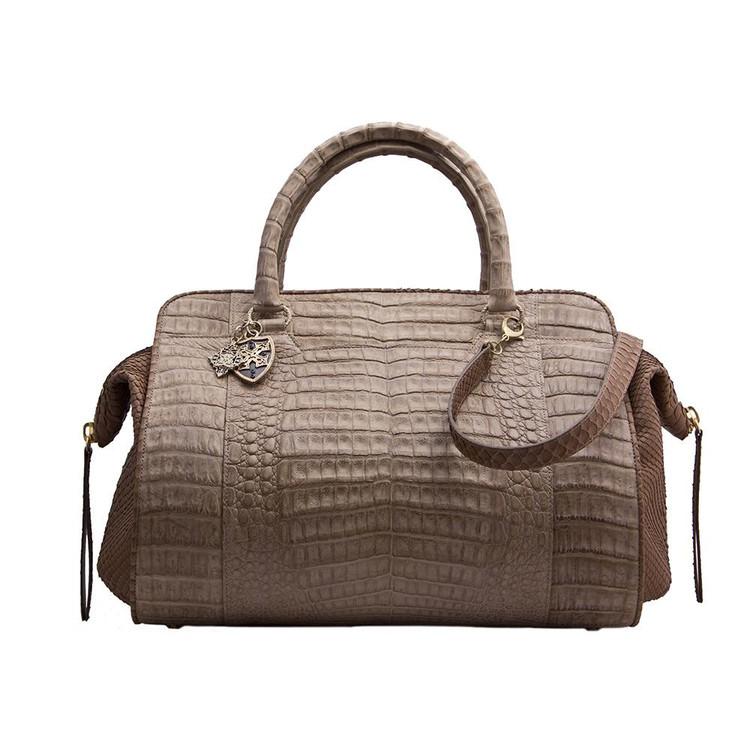 Armenta Large Handheld Bag in Stone Caiman
