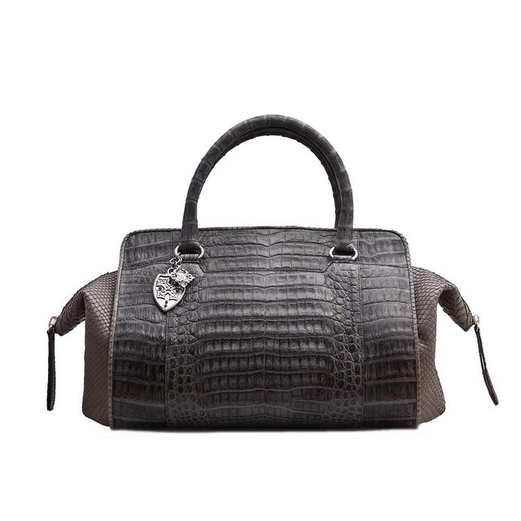 Armenta Handheld Bag in Grey Caiman