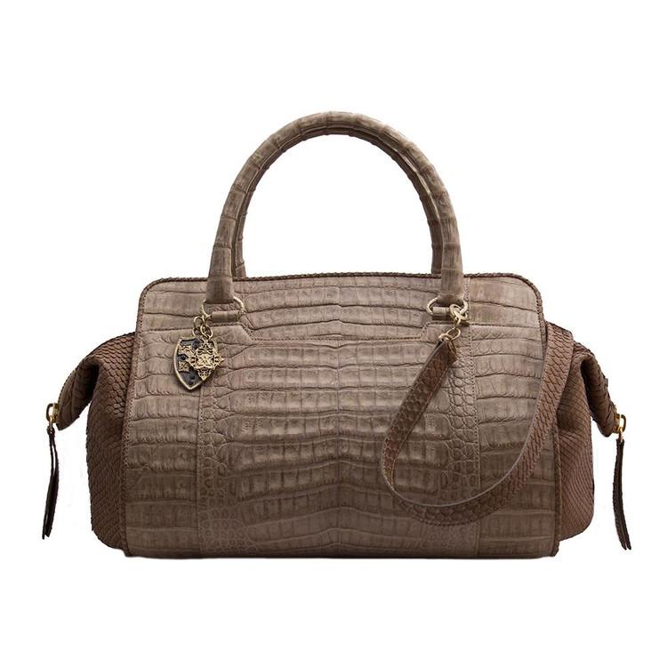 Armenta Handheld Bag in Stone Caiman