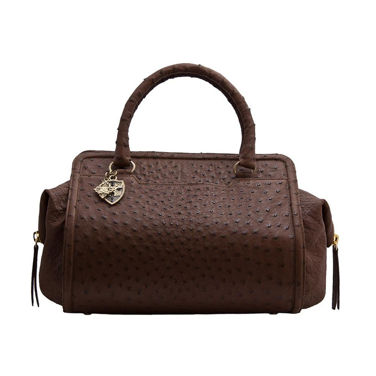 Armenta Handheld Bag in Brown Ostrich