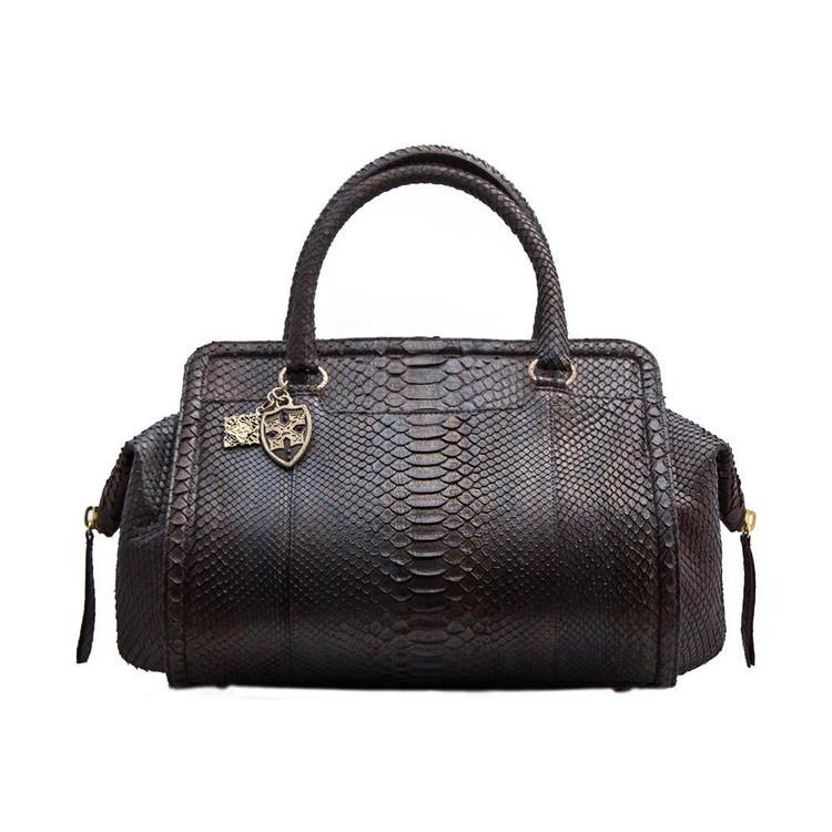 Armenta Handheld bag in Blue Bronze Python