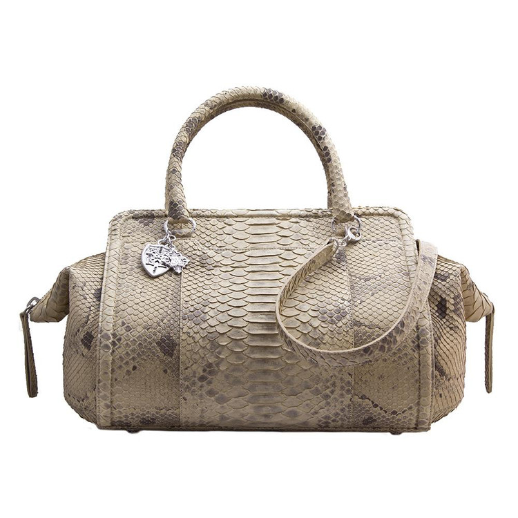 Armenta Handheld Bag in Light Taupe Python