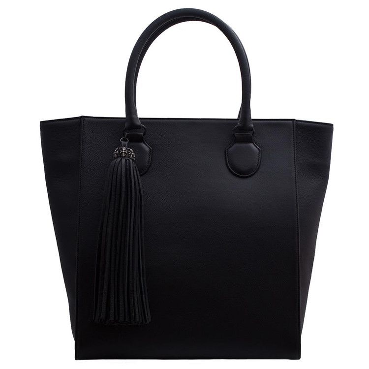 Armenta Tall Shopping Tote in Black Leather