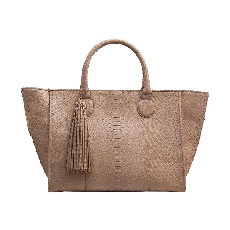*PRE-ORDER* Armenta Large Shopping Tote in Taupe Python