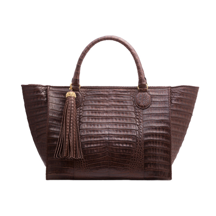 *PRE-ORDER* Armenta Large Shopping Tote in Chocolate Caiman
