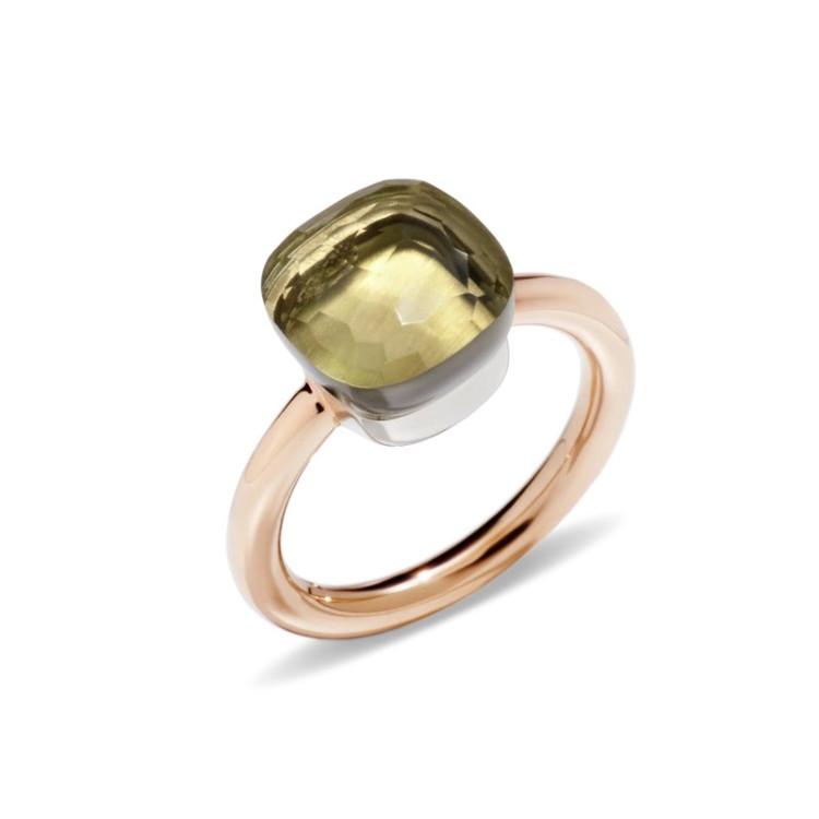 Pomellato Nudo 18K Rose and White Gold Lemon Quartz Classic Ring, Size 54