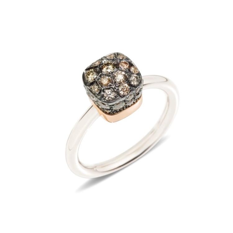 *PRE-ORDER* Pomellato Nudo 18K Rose and White Gold Solitaire Brown Diamond Petit Ring
