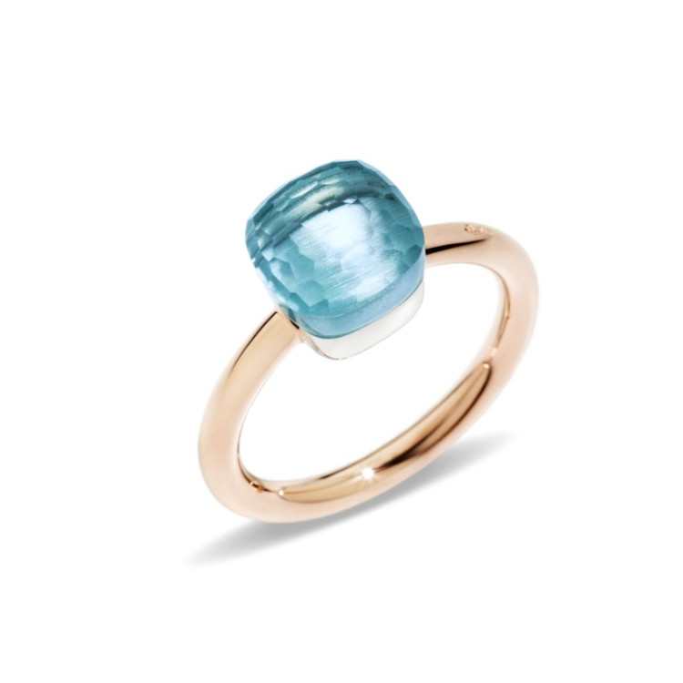 Pomellato Nudo 18K Rose and White Gold Blue Topaz Petit Ring, Size 54