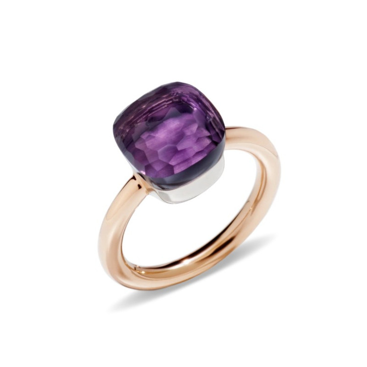 Pomellato Nudo 18K Rose and White Gold Amethyst Classic Ring, Size 53