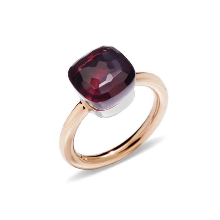 Pomellato Nudo 18K Rose and White Gold Garnet Classic Ring, Size 54