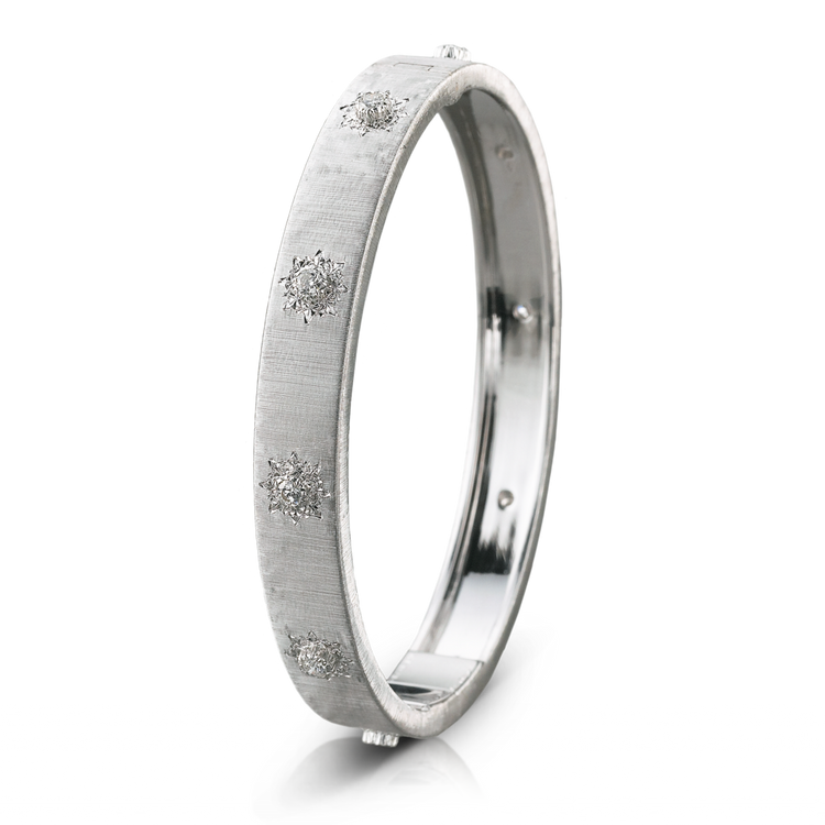 Buccellati Macri Classica Bangle Bracelet in White Gold, Size 17