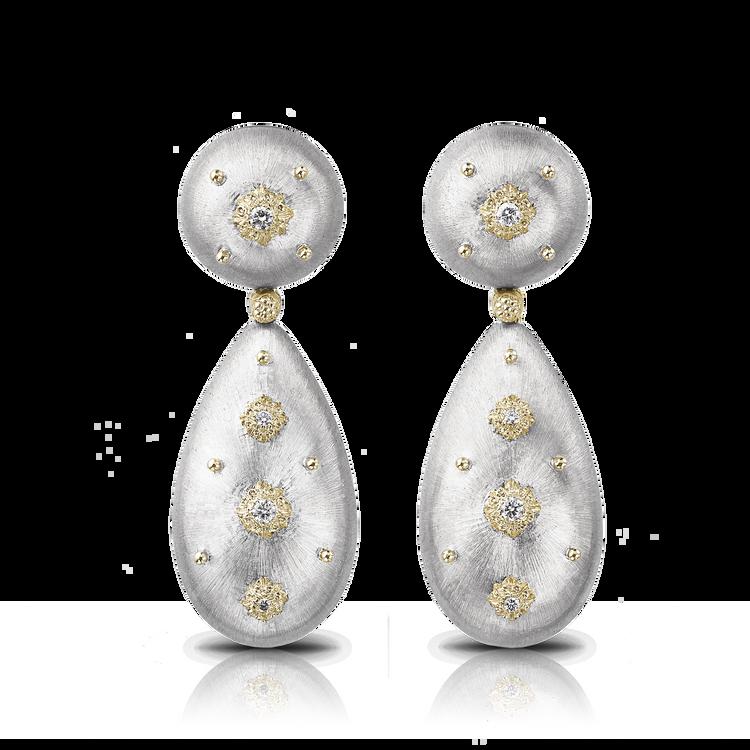 *PRE-ORDER* Buccellati Macri Pendant Earrings in White and Yellow Gold
