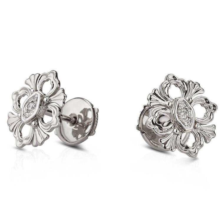 Buccellati Opera Button Earrings in 18k White Gold