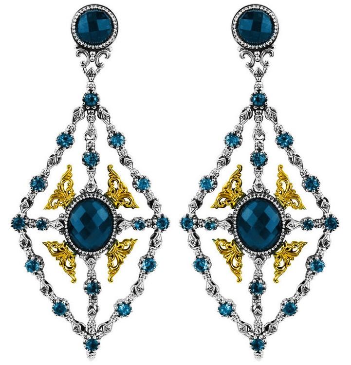 *PRE-ORDER* Konstantino Sterling Silver & 18k Gold London Blue Topaz Chandelier Earrings