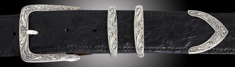 """Chacon Belts & Buckle Scrolling Filigree Denver Fine Engraved, 1 1/2"""""""