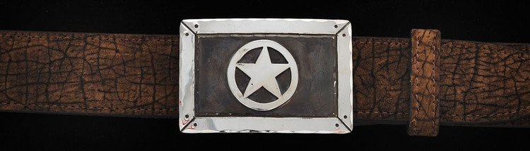 Chacon Belts & Buckle Texas Star Fine Engraved Rectangular, 1 1/2""