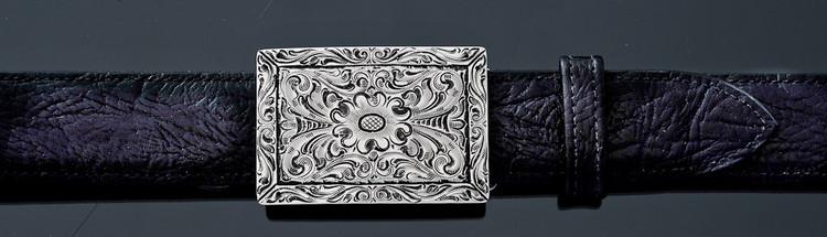 "Chacon Belts & Buckle Fine Line Filigree Engraved Rectangular, 1 1/2"""