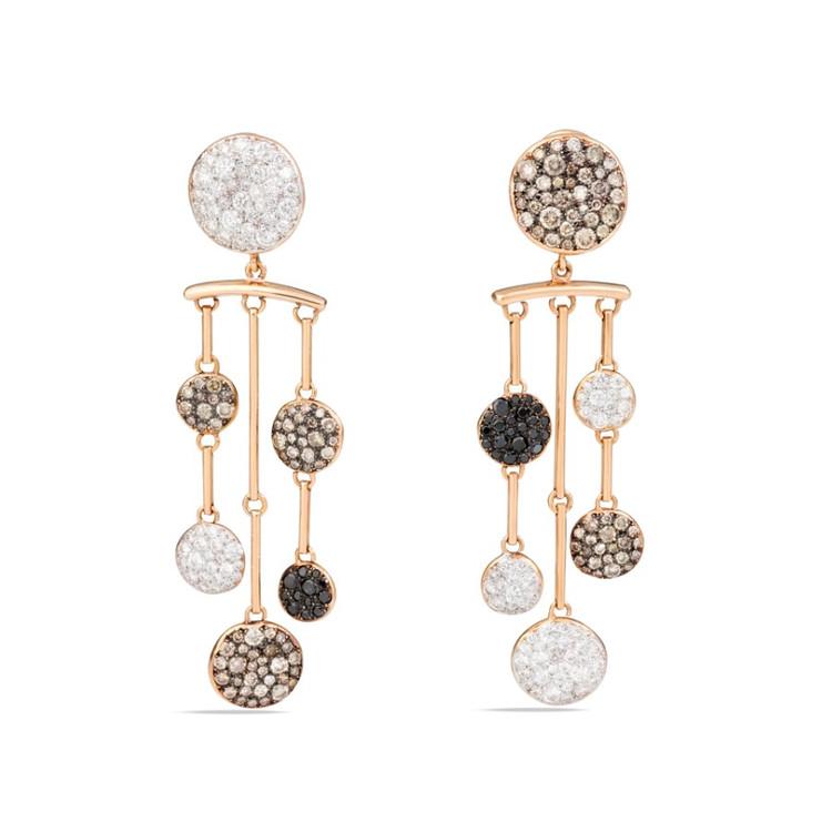 *PRE-ORDER* Pomellato Sabbia 18K Rose Gold Multicolor Diamond Chandelier Earrings