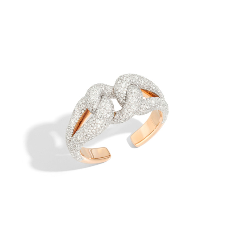 Pomellato 18K Rose Gold Diamond Tango Cuff Bracelet, 1.17 Ct.