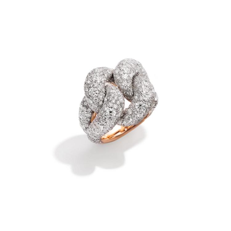 Pomellato 18K Rose Gold Diamond Tango Knotted Ring