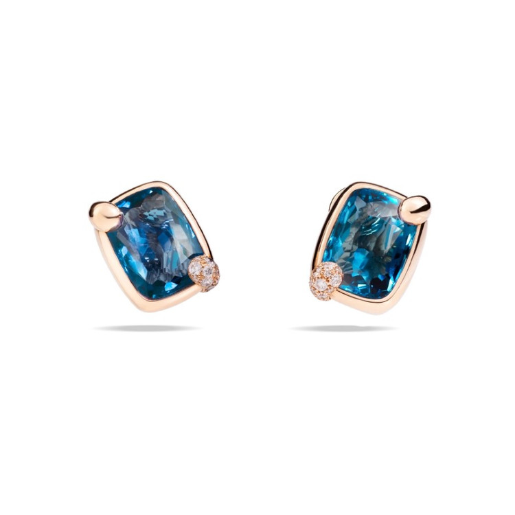 *PRE-ORDER* Pomellato Ritratto 18K Rose Gold London Blue Topaz Earrings