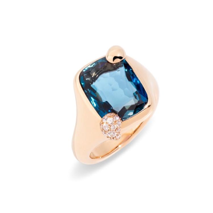 *PRE-ORDER* Pomellato Ritratto 18K Rose Gold London Blue Topaz Small Ring